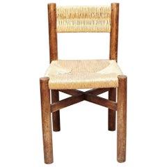 Charlotte Perriand Mid-Century Modern Wood Meribel French Chair, circa 1950