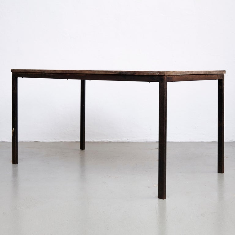 French Charlotte Perriand, Mid-Century Modern, Wood Metal Cansado Table, circa 1950 For Sale