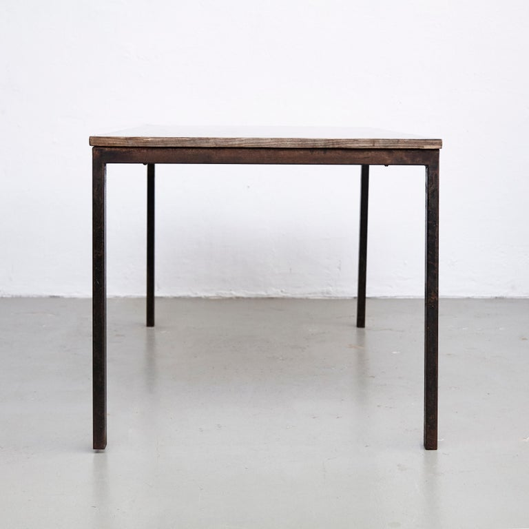 Charlotte Perriand, Mid-Century Modern, Wood Metal Cansado Table, circa 1950 In Good Condition For Sale In Barcelona, Barcelona