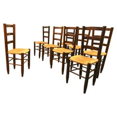 Charlotte Perriand Model No. 19 Set of 8 Solid Wood and Rush Dining Room Chairs