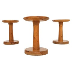 Charlotte Perriand or Daumiller Style Set of 3 Pinewood Stools France, 1950s