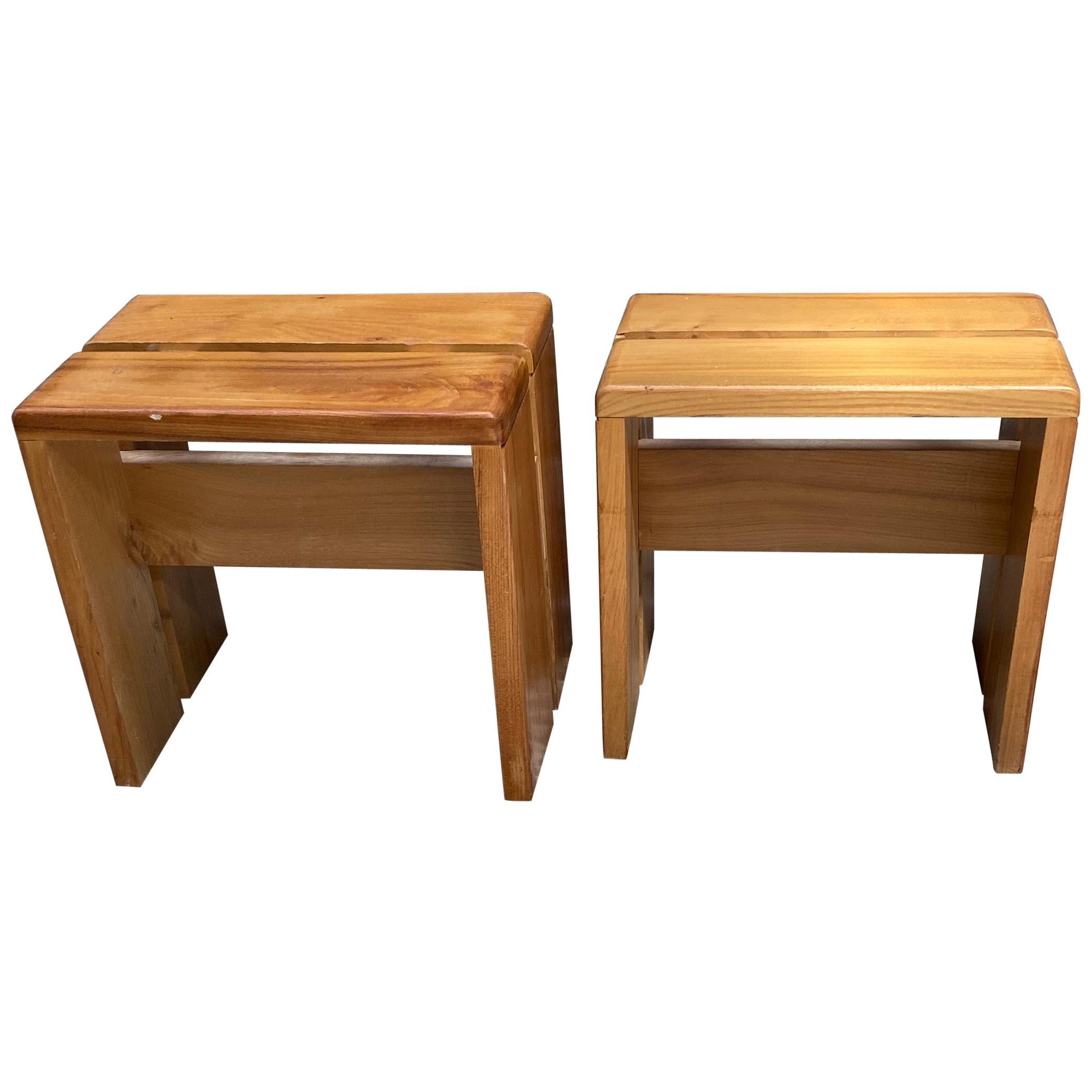 Charlotte Perriand Pair of Ash Stools