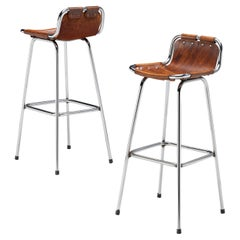 Charlotte Perriand Pair of Bar Stools in Leather