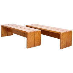 Charlotte Perriand, Pair of Large Wood Bench for Les Arcs, circa 1960