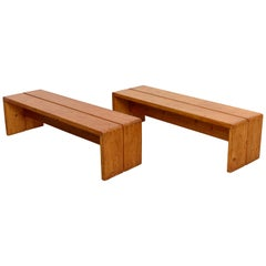 Charlotte Perriand, Pair of Large Wood Benches for Les Arcs, circa 1960