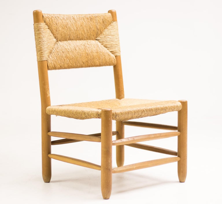 Mid-Century Modern Charlotte Perriand Pair of Rush Lounge Chairs For Sale