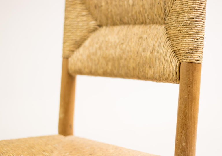 Charlotte Perriand Pair of Rush Lounge Chairs For Sale 3