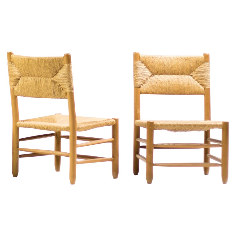 Charlotte Perriand Pair of Rush Lounge Chairs For Sale