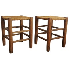 Charlotte Perriand Pair of Solid Wood Stools N 17, Georges Blanchon, France 1950