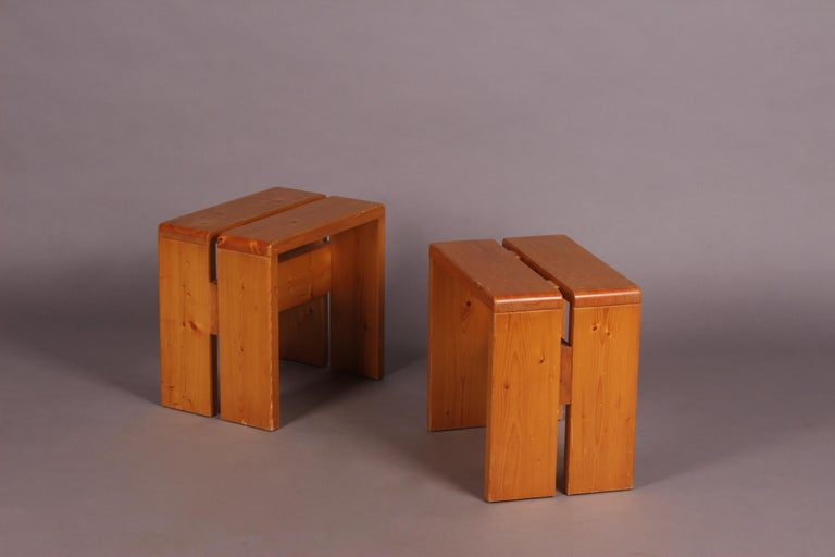 Charlotte Perriand pair of stools for Les Arcs.