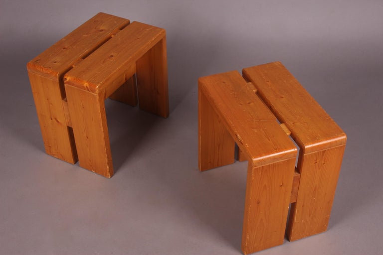 Charlotte Perriand Pair of Stools for Les Arcs In Good Condition For Sale In Meyrin, CH