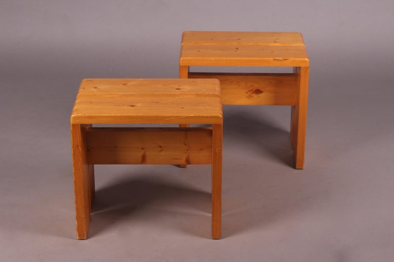 Mid-20th Century Charlotte Perriand Pair of Stools for Les Arcs For Sale