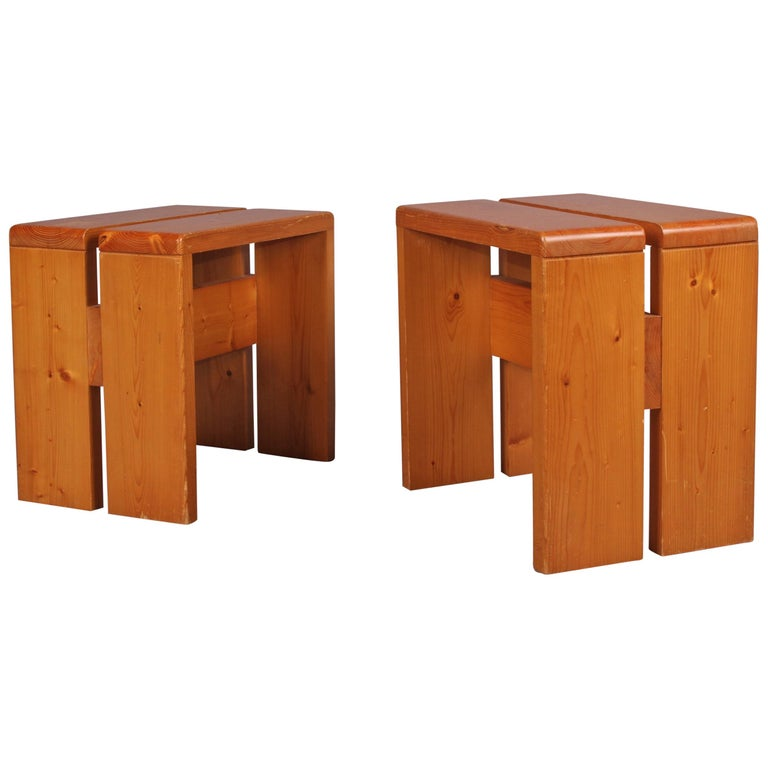 Charlotte Perriand Pair of Stools for Les Arcs For Sale