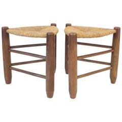 Charlotte Perriand Pair of Tripod Rush Seat and Oak Stools Les Arcs