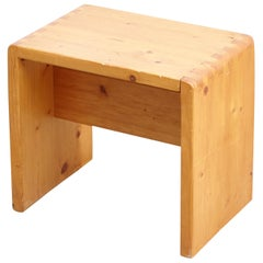 Charlotte Perriand Pine Wood Stool for Les Arcs
