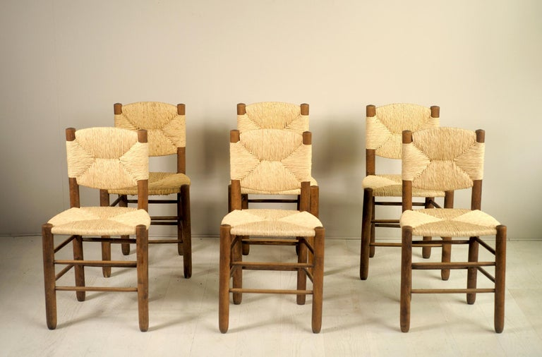 Charlotte Perriand, Set of 6 Chair N° 18 Bauche, France, 1950 For Sale 3