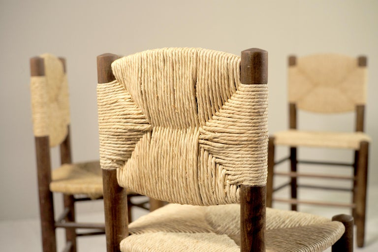 Mid-Century Modern Charlotte Perriand, Set of 6 Chair N° 18 Bauche, France, 1950 For Sale