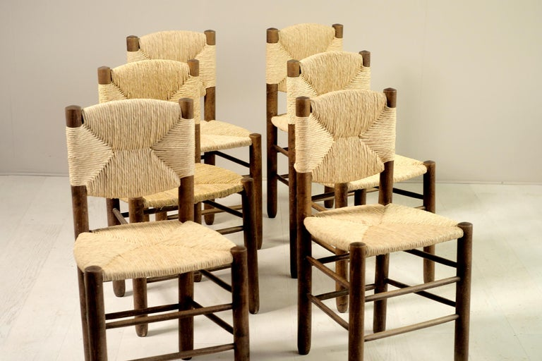 French Charlotte Perriand, Set of 6 Chair N° 18 Bauche, France, 1950 For Sale