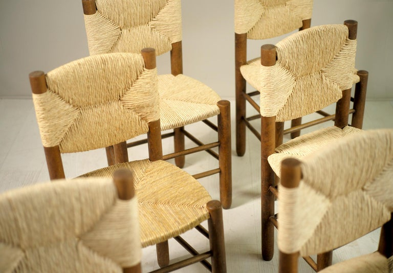 Charlotte Perriand, Set of 6 Chair N° 18 Bauche, France, 1950 In Good Condition For Sale In Catonvielle, FR