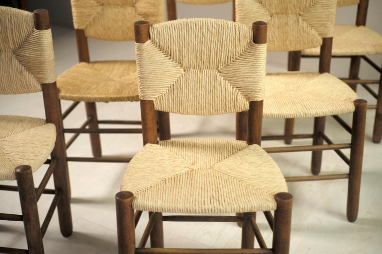 Mid-20th Century Charlotte Perriand, Set of 6 Chair N° 18 Bauche, France, 1950 For Sale