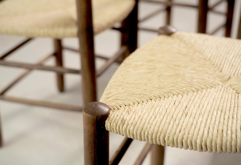 Straw Charlotte Perriand, Set of 6 Chair N° 18 Bauche, France, 1950 For Sale