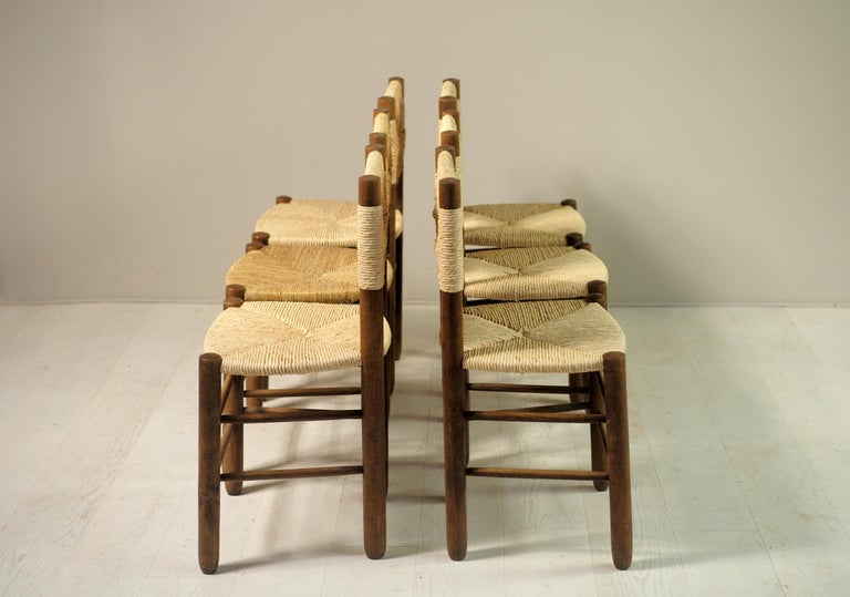 Charlotte Perriand, Set of 6 Chair N° 18 Bauche, France, 1950 For Sale 1