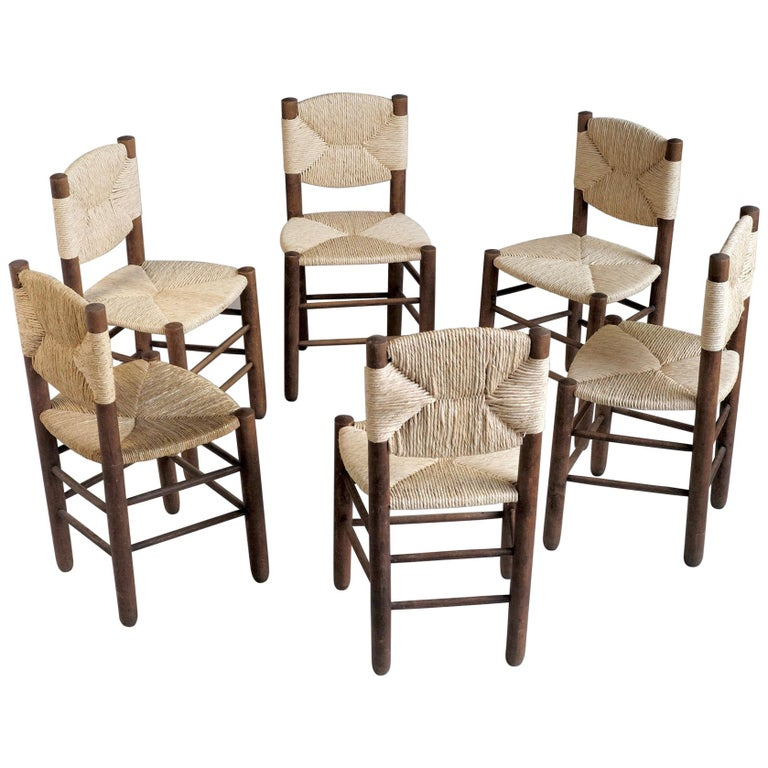 Charlotte Perriand, Set of 6 Chair N° 18 Bauche, France, 1950 For Sale