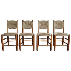 Charlotte Perriand Set of Four Bauche Chairs N 19, Steph Simon, France, 1950s