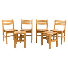 Charlotte Perriand, Set of Four Chairs and Two Stools in Pine, 1960s