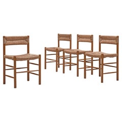 Charlotte Perriand Set of Four 'Dordogne' Dining Chairs with Straw Seats