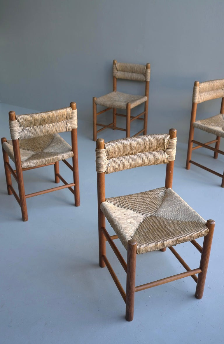 Charlotte Perriand, Set of Four Rush and wood
