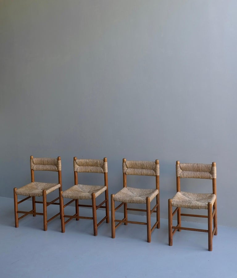 Mid-Century Modern Charlotte Perriand, Set of Four Rush and wood
