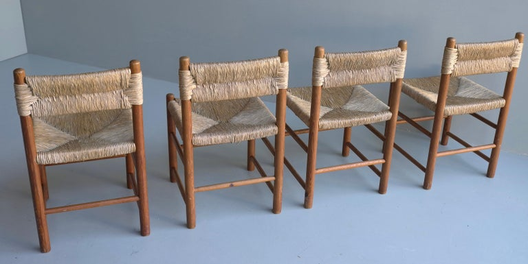 French Charlotte Perriand, Set of Four Rush and wood