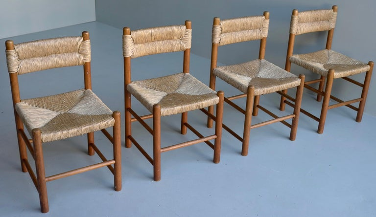 Hand-Woven Charlotte Perriand, Set of Four Rush and wood