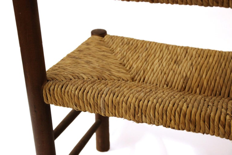 Charlotte Perriand, Set of One Bench and Pair of Chairs, Wood and Rattan For Sale 9
