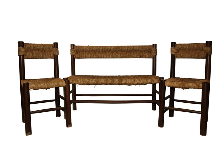 Charlotte Perriand, set of one bench and pair of chairs,