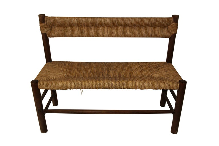 Mid-Century Modern Charlotte Perriand, Set of One Bench and Pair of Chairs, Wood and Rattan For Sale