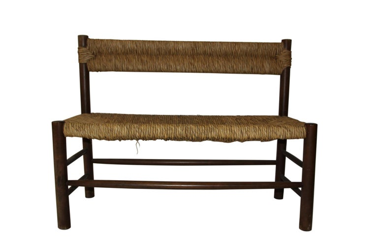 French Charlotte Perriand, Set of One Bench and Pair of Chairs, Wood and Rattan For Sale