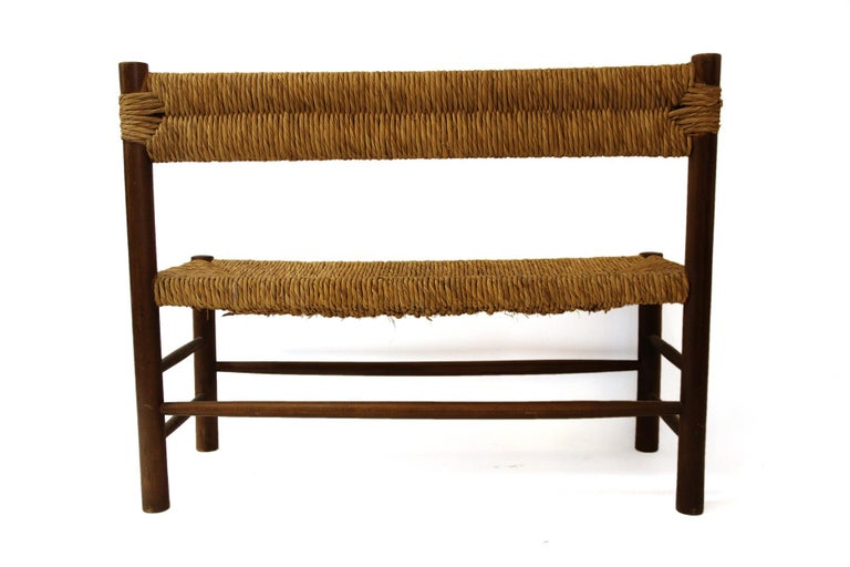 Charlotte Perriand, Set of One Bench and Pair of Chairs, Wood and Rattan In Good Condition For Sale In Nice, Cote d' Azur