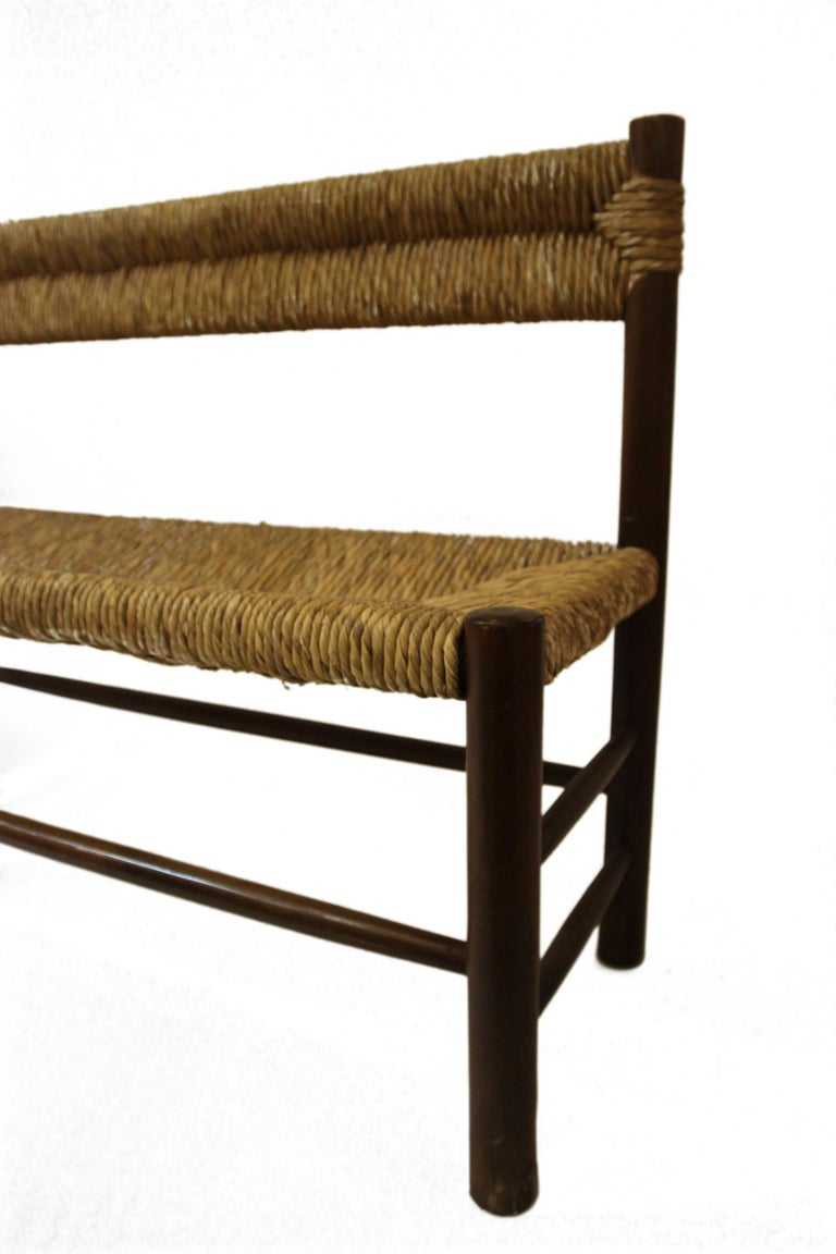 Late 20th Century Charlotte Perriand, Set of One Bench and Pair of Chairs, Wood and Rattan For Sale