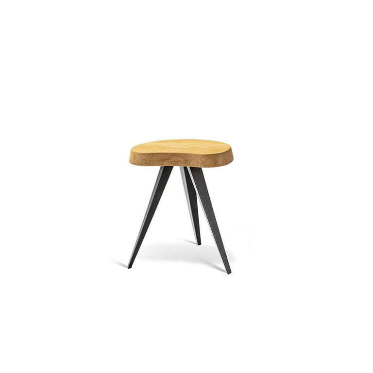 Mid-Century Modern Charlotte Perriand Set of Two Mexique Stools, Wood and Metal For Sale