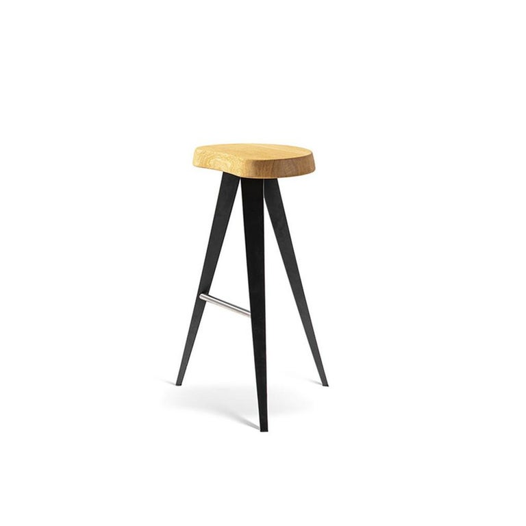 Italian Charlotte Perriand Set of Two Mexique Stools, Wood and Metal For Sale