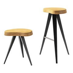 Charlotte Perriand Set of Two Mexique Stools, Wood and Metal