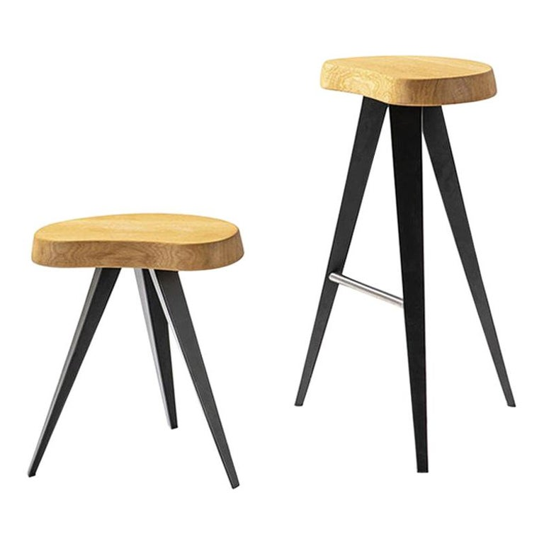 Charlotte Perriand Set of Two Mexique Stools, Wood and Metal For Sale