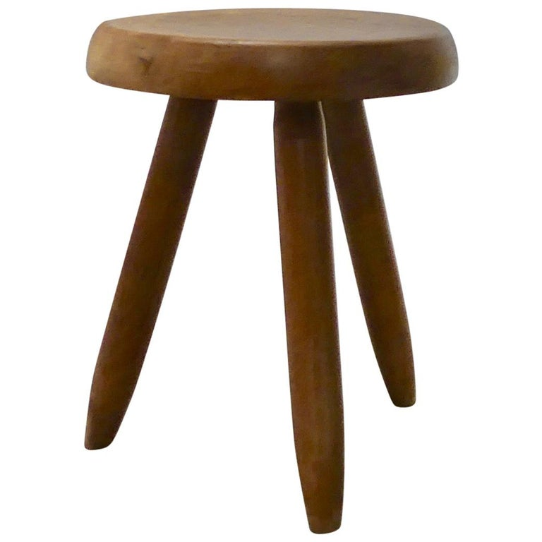Stool by Charlotte Perriand   Oakwood,  1960s  Measure: 40 cm  Provenance: Private collection, France Possibility to have a pair or more.