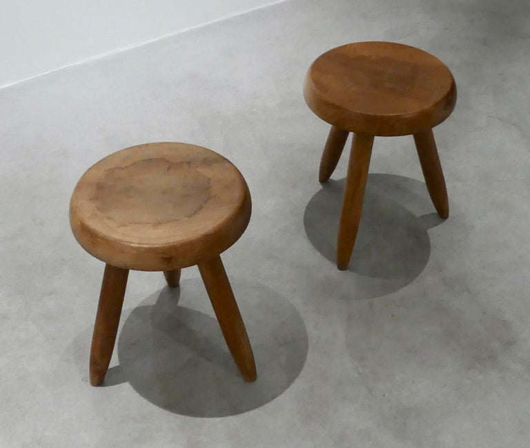 Charlotte Perriand, Stool 'Pair' In Good Condition For Sale In Paris, FR
