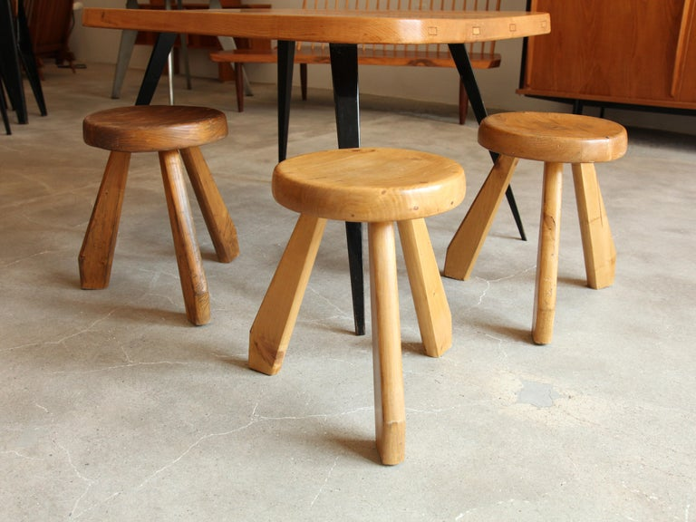 Great grouping of three pine stools by Charlotte Perriand from Les Arcs Ski Resort in Savoie, France, c. 1968. Sold as grouping of 3. Price is per stool. Will consider splitting up grouping.