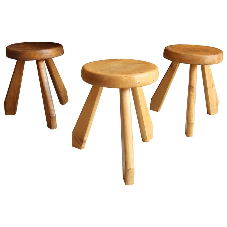 Charlotte Perriand, Stools from Les Arcs, Savoie, circa 1968 For Sale