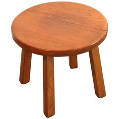 Charlotte Perriand Style French Oakwood Low Stool or Side Table