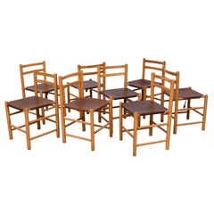 """Charlotte Perriand Style Pine and Leather """"TH"""" Dining Chairs"""